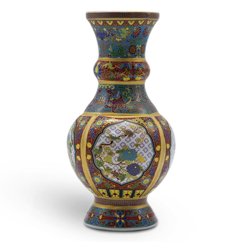 景泰蓝珐琅描金敞口瓶
